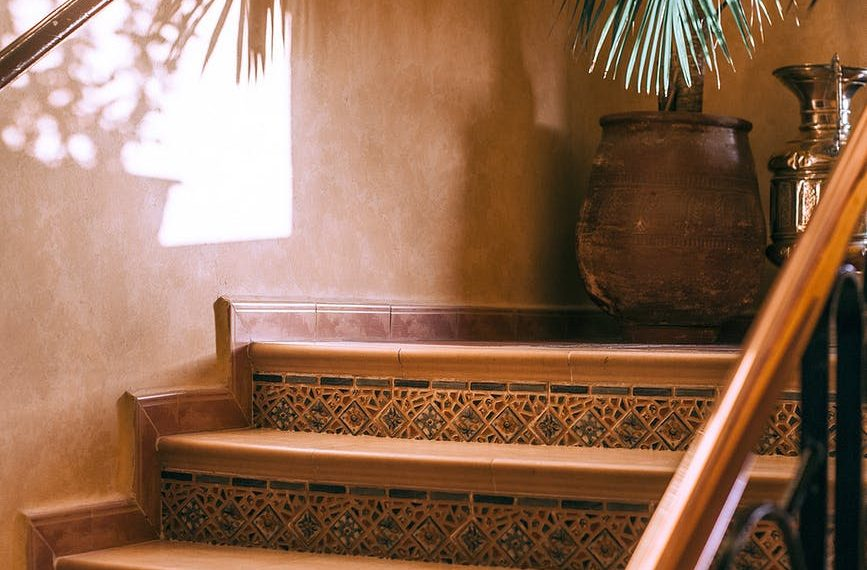 interior with stone staircase with ornament and reflection of palm on wall