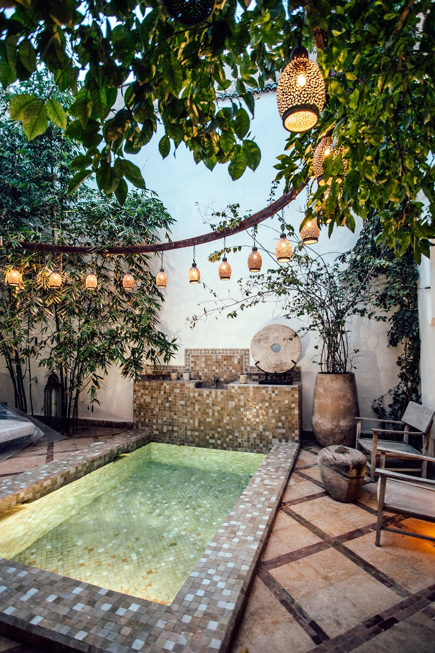 tropical resort spa with moroccan bath pool